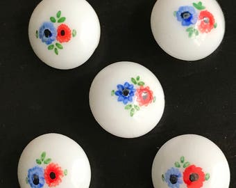 5 Vintage Glass Milk White Buttons with Hand Painted Florals, Red, Blue and Green Flowers, Shank Style, Vintage Sewing Buttons