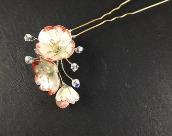 Wedding hair pin. Cherry blossom hair pin. Bridal hair pin. Hair accessory.