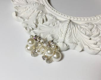 Swarovski Cluster Pearl Earrings (Ivory)