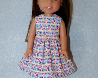 "Dress for 14"" Wellie Wishers or Melissa & Doug Doll Clothes colorful tkct1133 READY TO SHIP"