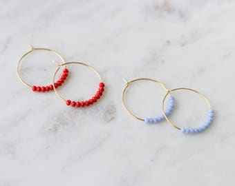Gold Hoop Earrings - Beaded Hoops - Beaded Earrings - Red Earrings - Colorful Earrings - Summer Jewelry - Bohemian Jewelry