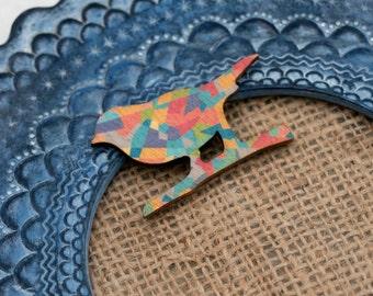 Bird Brooch, Geometric Illustration, Wood Jewelry, Animal Brooch, Woodland