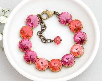 Pink Swarovski Crystal Bracelet, Rose Pink Rhinestone Bracelet, Rose Rhinestone Jewelry, Pink Glass Bracelet, Swarovski Bracelet, Dianthe
