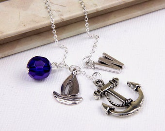 Personalized Sailing Necklace with Your Initial and Birthstone - SP03
