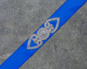 Blue Art Deco Ribbon Belt Cobalt Royal Satin Sash With Bead Embellishment Handmade 183