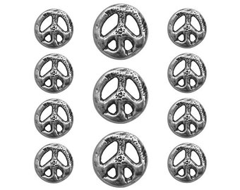 11 pc Organic Peace Sign Metal Blazer Button Set Silver Color