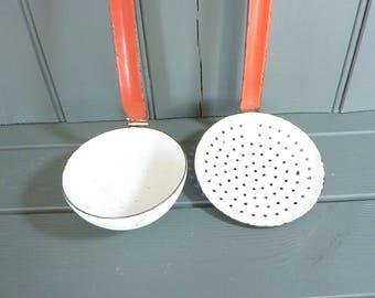 Vintage French red and white enamel strainer skimmer and ladle utensil set, kitchenalia