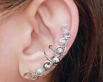 Silver Ear Cuff Silver plated Elegant Ear Wrap