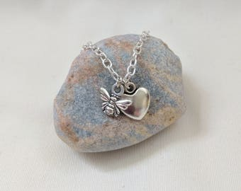Bee love Necklace | Bee Heart Necklace | Bee Lover | Animal Lover | Silver Charm Necklace | Busy Bee Necklace | FREE GIFT WRAP
