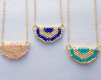 Crescent Delica Glass Beaded Pendant on Gold Plated Chain Necklace - Great for Layering! Multiple Color Options!
