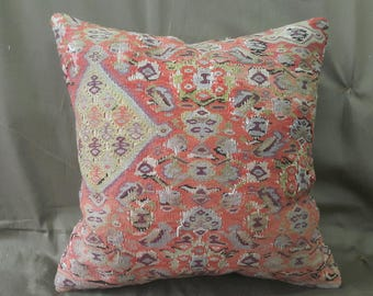 "Kilim Pillow, 18""×18""inches, Decorative Kilim Pillow, Cushion Cover, Pillow Cover, Throw Pillow, Moroccan, Anatolian, Bohemian, Aztec, Decor"