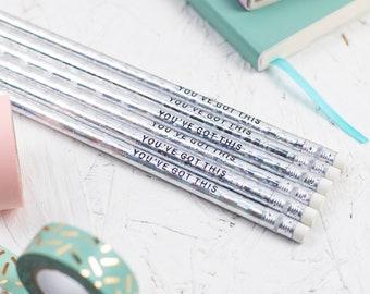 You've Got This Pencils Set, Motivational pencils, Positive Gifts, Slogan Pencils, Foil Pencils, Positive Quotes, Pencils, Gift For Her