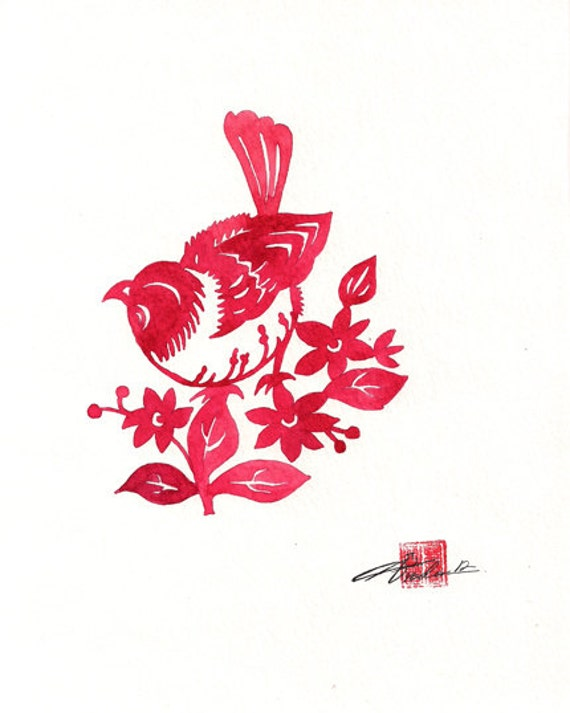 Items similar to red bird chinese paper cut red bird with items similar to red bird chinese paper cut red bird with poinsettias flowers and berries watercolor print 8 x 10 print on etsy mightylinksfo