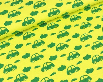Cotton Jersey cars and clouds green on yellow (15.90 EUR / meter)
