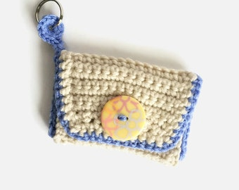 Credit Card Wallet, Beige Crochet Wallet, Credit Card Holder, Wallet Keychain, Minimalist Wallet, Small Wallet Card Case