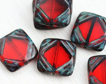 Square beads, Red  Czech glass beads, picasso finish, table cut, squares - 15mm - 4Pc - 2546
