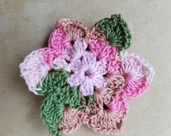 Flower Barrette, Crocheted
