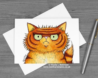 Cat Greeting Card, Ginger Persian Cat, Alternative Valentine Card, Cat Birthday Card, Cat Love Card, Grumpy Persian Cat, Funny Cat Card