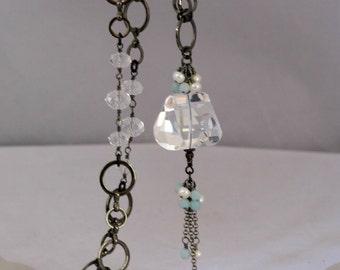 Rock Crystal Quartz Nugget and Gunmetal Long Necklace