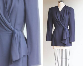 Vintage PSI by Alven Bell Navy Blue Wool  Wrap fitted Blazer Us Size 4