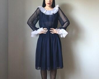Vintage Sheer Navy Ruffle Collar Dress