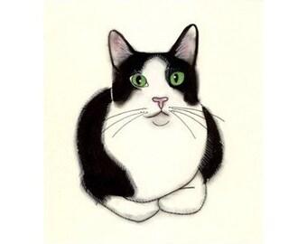 Tuxedo Cat Art - Green Eyes -   black and white cat print - 4 for 3 SALE