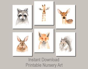 Animal Nursery Prints, Woodland Nursery Decor, Woodland Prints, Nursery Wall Art, Watercolor Nursery Art, Woodland Nursery Printables 6