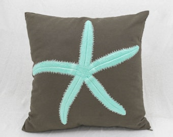 Costal Pillows, Starfish Pillow Cover, Nautical Decor, Turquise Pillow, Embroidery Pillow, Brown Linen Pillow, Decorative pillow for couch