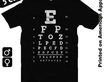 Eye Test Chart American Apparel Men/Women T-shirt S-XXL, Funny, Optometrist, Glasses, Vision, Cool Gift!