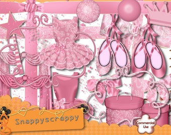 Ballet Digital Scrap Kit.  Pink Ballerina Digital Scrapbooking kit. Commercial Use.