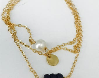 Sapphire Bracelet Valentine's Day gift Dainty Bracelet Coin Bracelet September Birthstone Gemstone Bracelet layering Pearl Bracelet