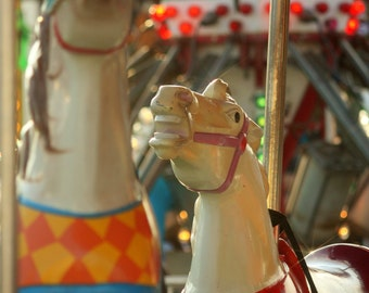 8x10 Photograph Carnival Ride Carousel Horse (283)