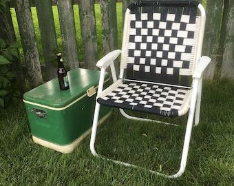 Vintage Macramé Lawn Chair with Navy Blue & White Checks - Retro Patio Chair