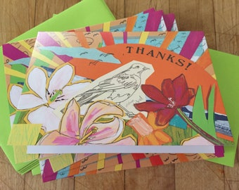 Thanks Sketch Bird Boxed Note Cards