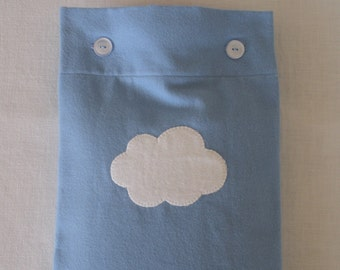 Periwinkle Blue Flannel Hot Water Bottle Cover With Cloud Applique, or plain