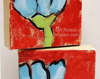 Blue Tulips, Set of 2, Original Painting, Flower Painting, Small Artwork, Winjimir, Home Decor, Office, Wall Art, Gift, Tulip, Spring, Art