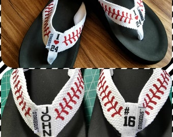 Baseball Flip Flops Personalized Baseball Sandals w/ stitches. I heart/love player # number, names or initials. Baseball Mom Slippers. Team