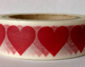 """CLEARANCE Heart Washi Tape """"Heart Row""""  15mm X 10 meters"""