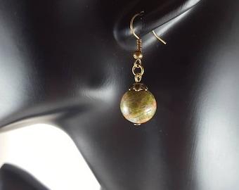 Unakite Earrings, Dangle earrings, Drop earrings, Minimalist earrings, Everyday earrings, Crystal earrings, Boho earrings, Gift for women
