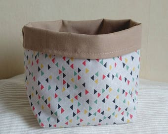 Tidy pot fabric beige colored triangles