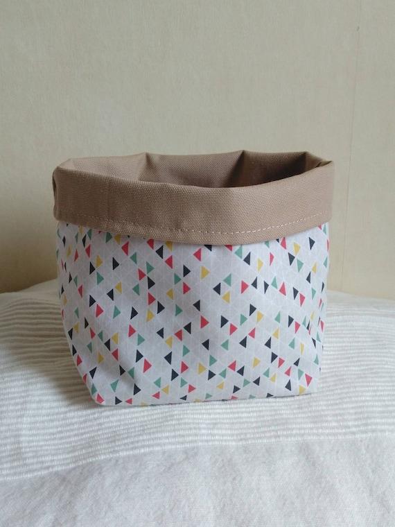 vide poche pot tissu beige motifs petits triangles color s. Black Bedroom Furniture Sets. Home Design Ideas