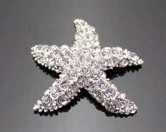 Rhinestone Starfish Button 30mm Crystal Clear Silver Plated Metal Buttons Embellishment Bridal Wedding Supplies Cheer Bows Flower Centers