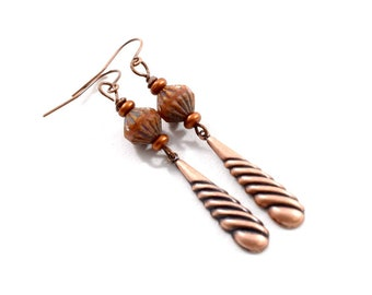 Simple Copper Earrings, Copper Earrings, Everyday Earrings, Copper and Orange Earrings, Antique Copper Earrings, Metal Earrings, E047