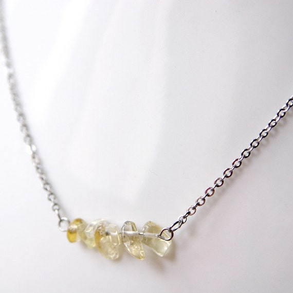 Rutilated Quartz Necklace on Stainless Steel Chain. Nickel Free.