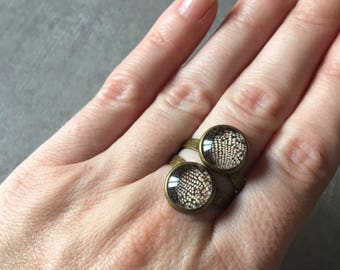 Snake - Bronze round ring adjustable 2 10mm glass cabochons