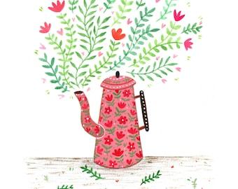 Coffee and Flowers - Giclée Print
