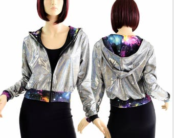 """Silver Holographic Long Sleeve Zipper Front Cropped """"Kimberly"""" Hoodie Jacket with UV Glow Galaxy Hood Lining & Cuffs 154407"""