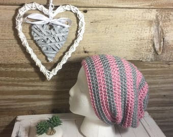 Handmade Crochet Simple Slouch Hat - Pink/Grey Stripes