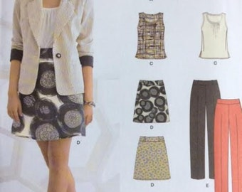 Pattern for Misses Separates Misses' Top, Skirt, Pants and Jacket Sizes 4 6 8 10 12 14 16 Waist 22-30 New Look K6035 - Uncut