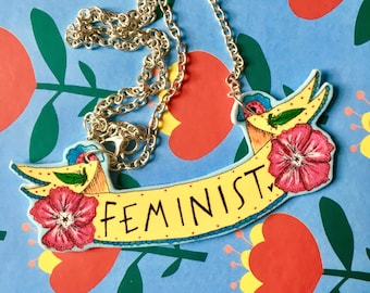FEMINIST Banner Necklace, Cute Floral Necklace, Illustrated Necklace, Quirky Original Gift Idea